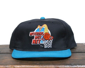 Vintage 90's Nothing But Net Basketball McDonalds Fast Food Burgers Golden Arches Snapback Hat Baseball Cap