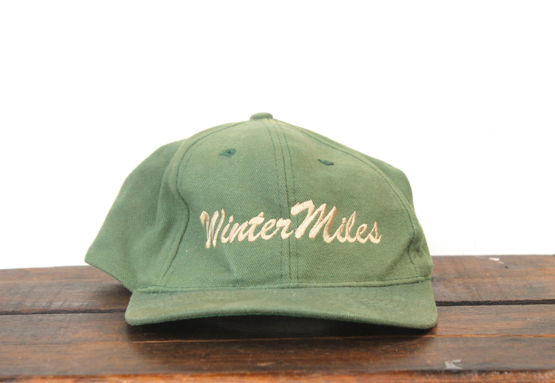 588d0f1a3b216 Vintage 90 s Minimal Faded Winter Miles Script Snapback
