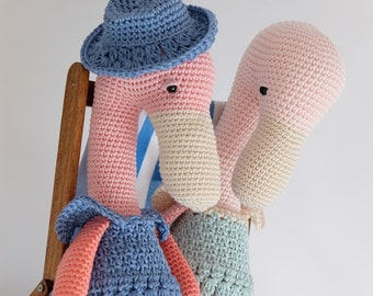 Crochet Amigurumi Flamingo PATTERN ONLY PDF download Stuffed Toy Bird