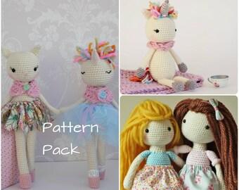 Crochet Unicorn Doll Tutu Ballerina Toy Stuffed Animal Rainbow ... | 270x340
