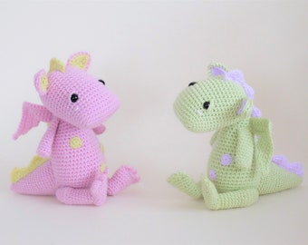 Crochet Amigurumi PATTERN ONLY Bobby the baby Dragon PDF Instant Download Stuffed Animal