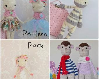 Crochet Amigurumi Toy PATTERN Pack Special Offer Zebra, Ballerina Cat/Unicorn, monkey and Twinkle toes the unicorn Toy Plush Animals