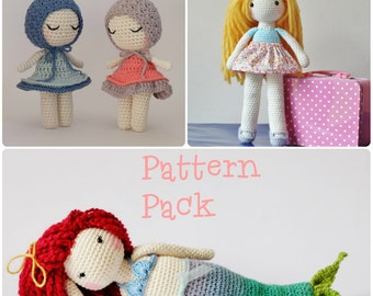 Crochet Amigurumi Toy PATTERN Pack Special Offer Doll, Little Lottie Doll and Mermaid Toy Plush