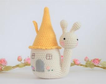 Crochet Amigurumi Saffy the Snail PATTERN ONLY PDF download Soft toy Diy Plush Snail House