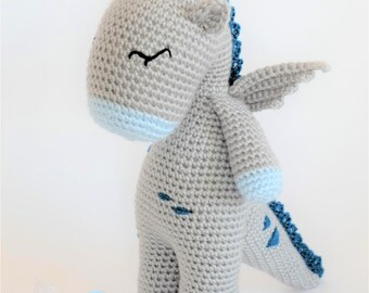 Crochet Amigurumi Button the Dragon Stuffed Animal PDF PATTERN ONLY Toy