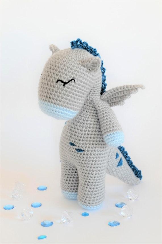 Crochet Amigurumi Button the Dragon Stuffed Animal PDF PATTERN | Etsy