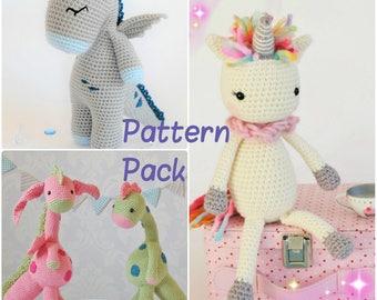 Amigurumi Pattern Pack PDF Download Dino Dragon and Unicorn