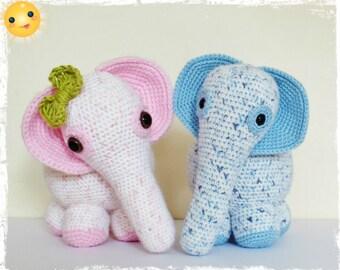 Crochet Elephant Amigurumi PATTERN ONLY PDF Instant Download Plush Cute Animal Toy Nursery Children Baby