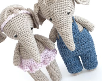 Crochet Amigurumi PATTERN Piper the Elephant Stuffed Animal Toy PDF
