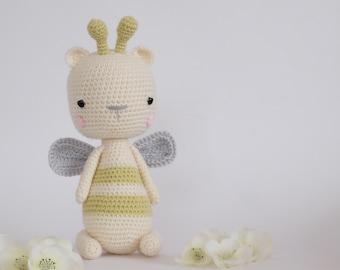 Crochet Amigurumi Honey the Bee Stuffed Animal PATTERN ONLY PDF instant Download