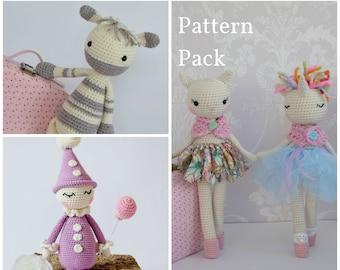 Crochet Amigurumi Toy PATTERN Pack Special Offer Zebra, Ballerina Cat/Unicorn and Clown Toy Plush Animals