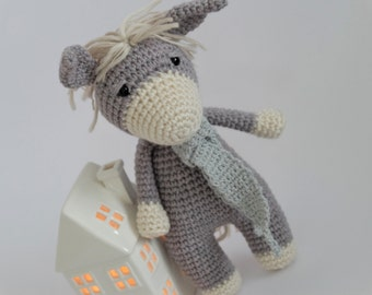 Crochet Amigurumi Donkey Stuffed Animal Plush Toy Ready to Ship