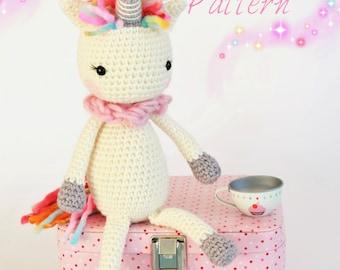 Crochet Amigurumi Unicorn PATTERN ONLY Instant Download Childrens Gift Stuffed Animal Soft Toy