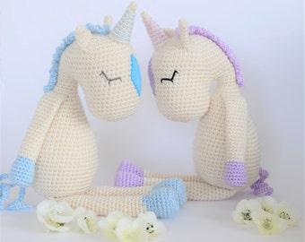 Crochet Amigurumi Flossie the Unicorn Stuffed Animal PATTERN ONLY PDF Download Toy