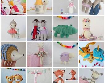 Custom Pattern Pack Amigurumi Patterns  Any 3 of your Choice Toys Crochet Animals Dolls