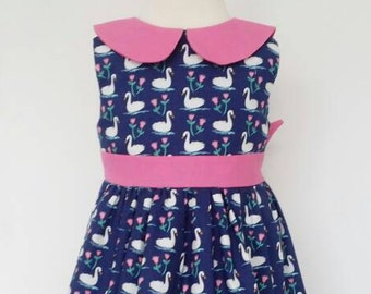 Swan dress, navy dress, party wear, bird print, uk