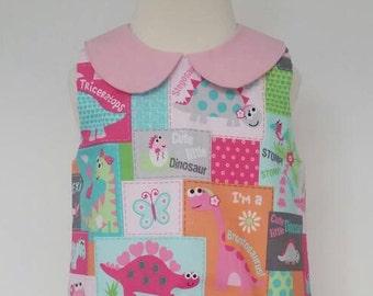 Dinosaur dress, peter pan collar, dinosaur party, dino dress Kids clothing, uk
