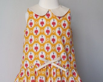 Cat dress, yellow summer dress, kitty dress, Peter pan collar, uk