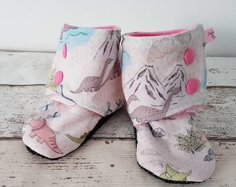 Dinosaur bootees, pram slippers, dino, baby gift, baby shoes, uk seller