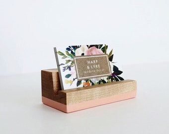 Business card holder etsy more colors painted wood business card holder reheart Choice Image
