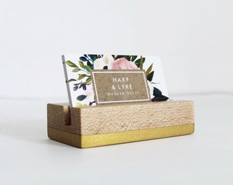 Painted Wood Business Card Holder - Business Cards - Wooden Recipe Card Holder - Office Organization - Desk Accessory
