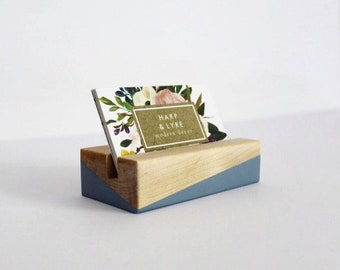 Painted Walnut Wood Business Card Holder - Business Cards - Wooden Recipe Card Holder - Office Organization - Desk Accessory - Photo Display