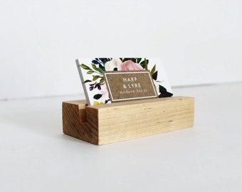 Maple Wood Business Card Holder - Business Cards - Wooden Recipe Card Holder - Desk Accessory - Photo Display
