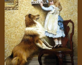 Little Girl spoon feeding puppy by Charles Burton Barber vintage art