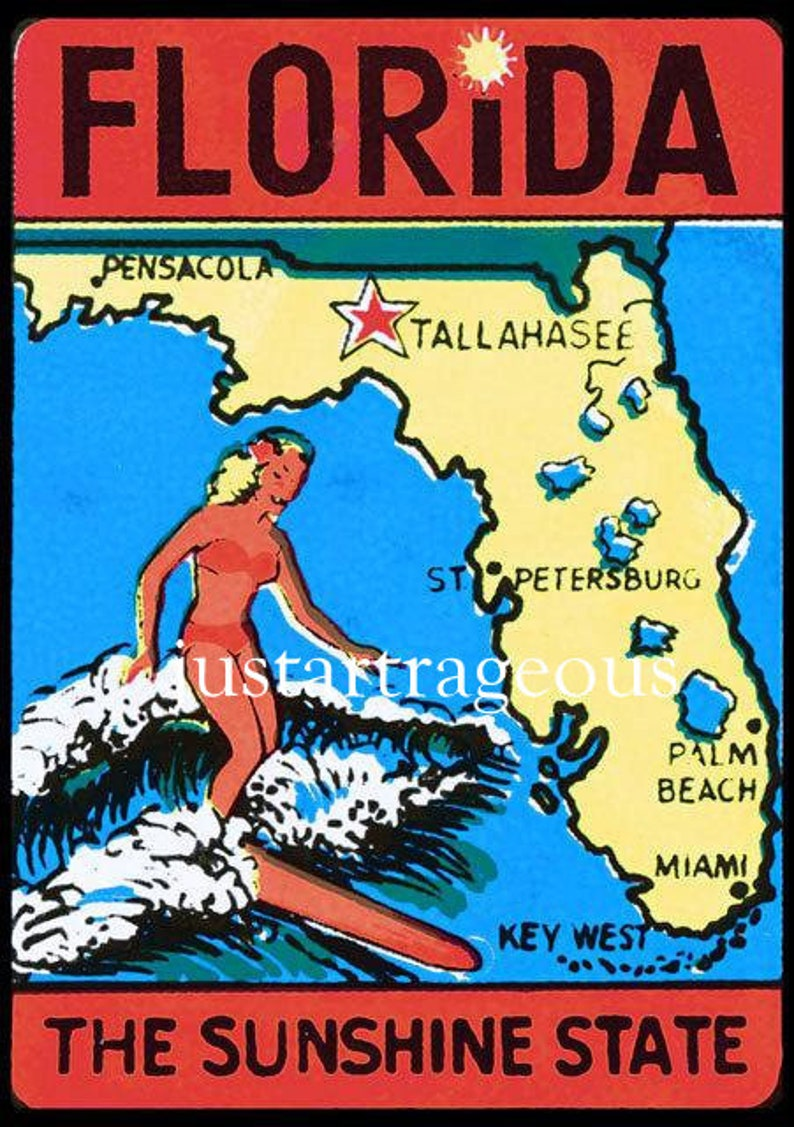 Florida, the sunshine state, vintage travel, tourism, mid century, vintage  posters, vintage travel posters, see the USA, surfing, ocean,