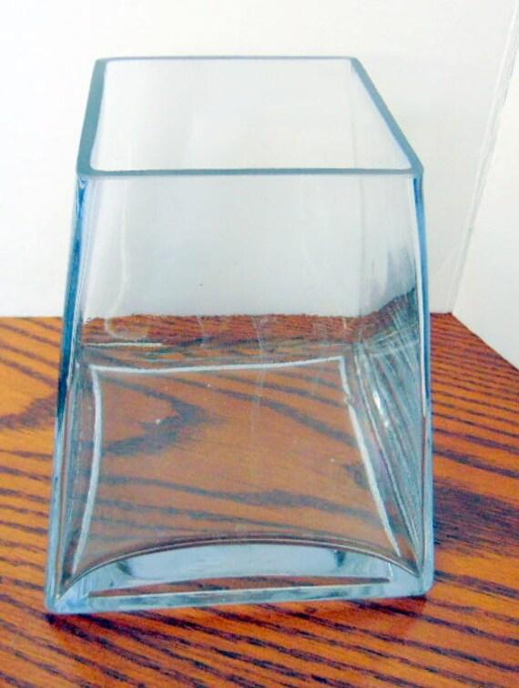 Very Heavy Glass Unique Terrarium Planter Glass Vase Slant Etsy