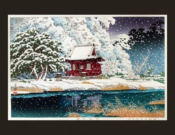 snowy vintage painting