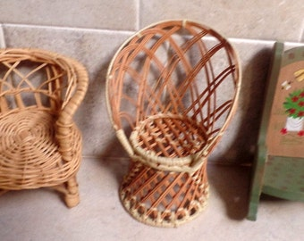 Set of 3 vintage dolls chairs.  2 wicker, and one wooden rocker,