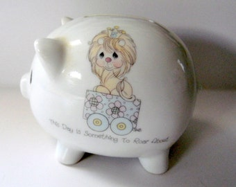 Precious Moments-Enesco, Lion themed  Piggy Bank, This day is something to roar about. small saving bank, Made Japan, Enesco porcelain piggy