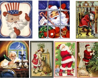 A set of 7, large size Magnets, featuring Santas from around the world.   Christmas and holiday decor