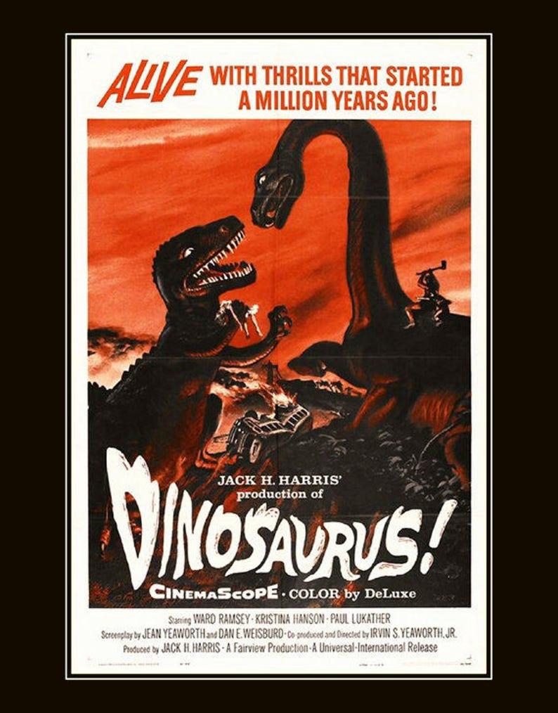 Dinosaurs-vintage-movie-poster-extinct animals, vintage movie  posters,vintage posters, kids room decor, 11x14