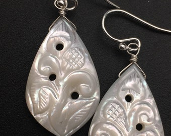 Carved Mother of Pearl Earrings, white stone earrings, sterling silver, earrings under 150