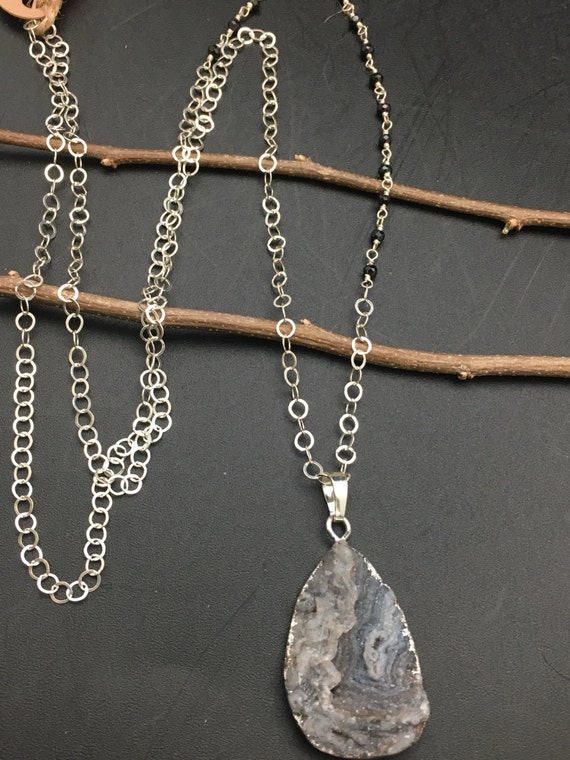 Asymmetrical Druzy and Black Spinel Necklace
