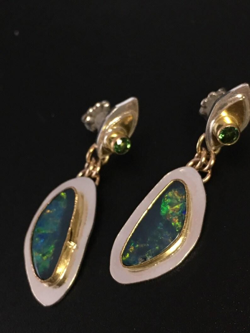 Australian Opal earrings Tsavorite Earrings 14k gold image 0