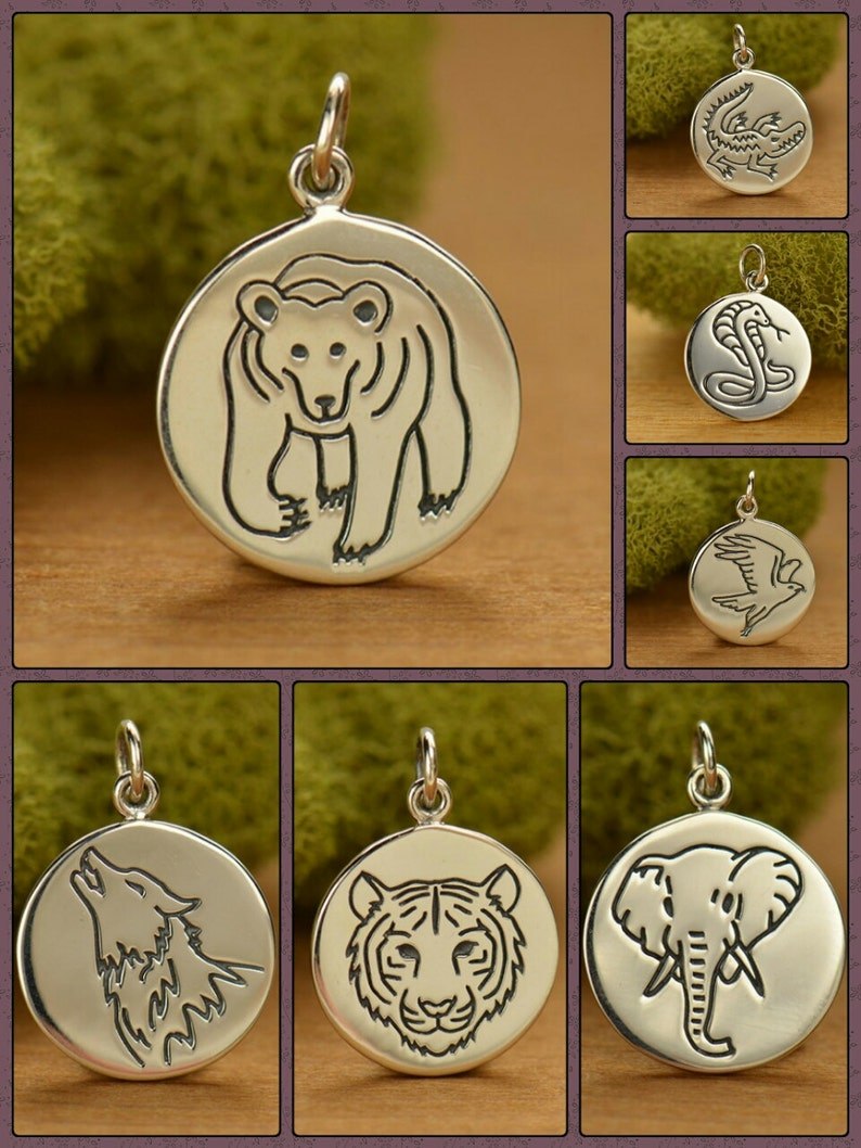 Sterling Silver Spirit Animal Charms Talisman,Silver Disc Necklace Animal Charms Coin Necklace Silver Disc Charm Animal Spirit Charm