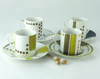 Chic and modern porcelain coffee cups with green and blue moiré colors