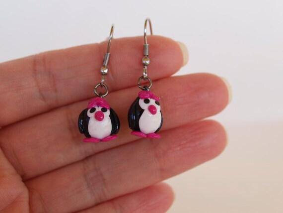 fait main Boucles d/'oreilles Penguin Penguin Boucles d/'oreilles bijoux argent Argent boucles d/'oreilles
