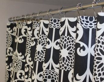 """72""""x72"""" Black and White Floret shower curtain"""