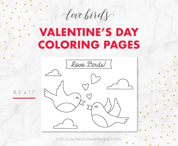 Valentine\'s Day Coloring Pages - Love Birds - Adult Coloring - Kid Coloring  - Elderly Coloring - Printable Coloring Pages - Coloring Book