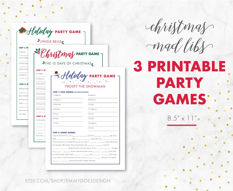 photo relating to Words to 12 Days of Christmas Printable identified as 3 Xmas Celebration Video games - Xmas Insane Libs - Grownup Christmas Game titles - Relatives Family vacation Game titles - Frosty - Jingle - 12 Times - Instantaneous Down load Sport