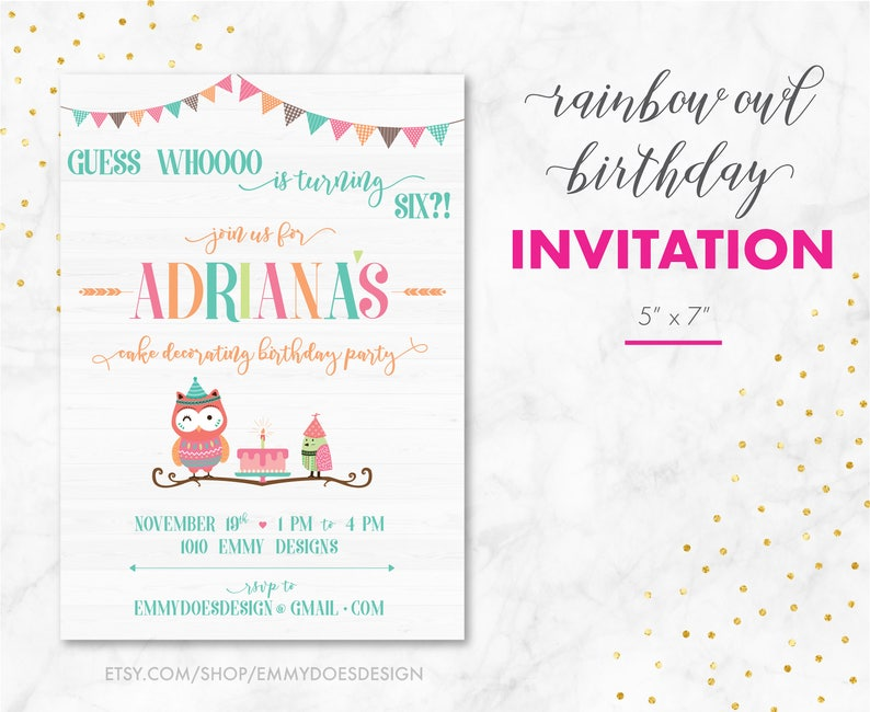 Owl Birthday Party Invitation Theme Kid