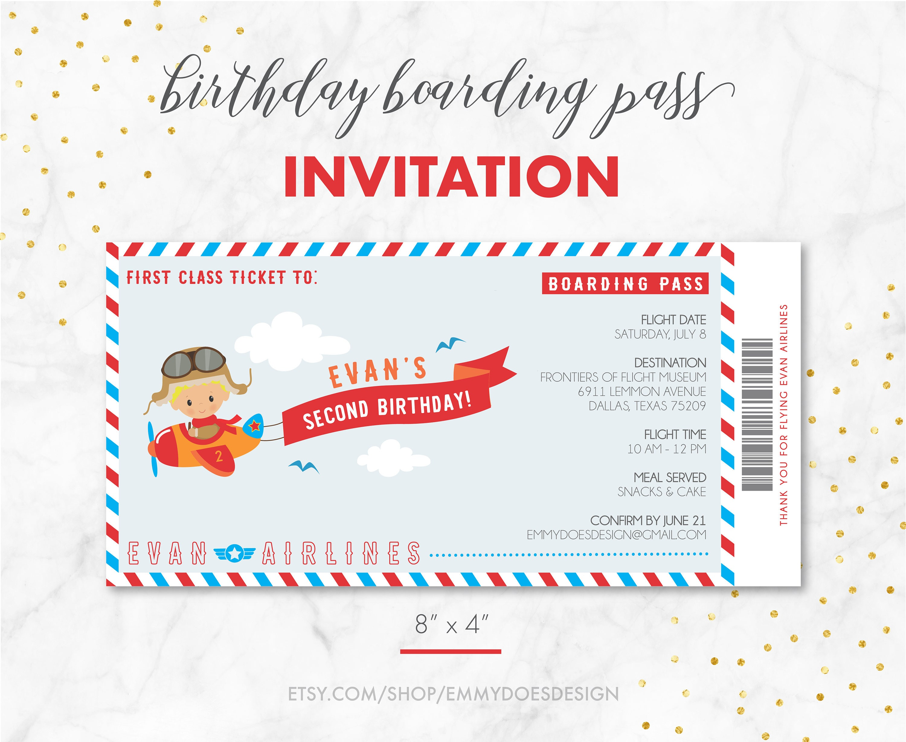 Birthday Boy Boarding Pass Airplane Invitation Airplane | Etsy