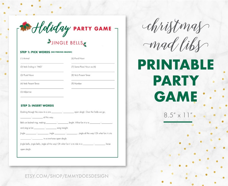 image about Printable Adult Mad Libs titled Xmas Social gathering Sport - Xmas Crazy Libs - Grownup Christmas Sport - Household Getaway Sport - Jingle Bells Xmas Activity - Immediate Obtain Christmas Sport