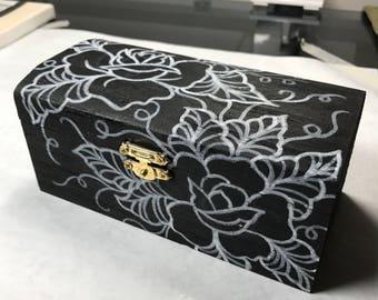 Hand Drawn Roses Wooden Box
