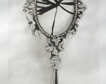 Shattered Handmirror India Ink Painting