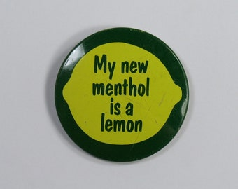 Vintage 70s Pin My New Menthol Is a Lemon Twist Cigarettes pinback button collector hipster souvenir yellow green citrus tobacco hat